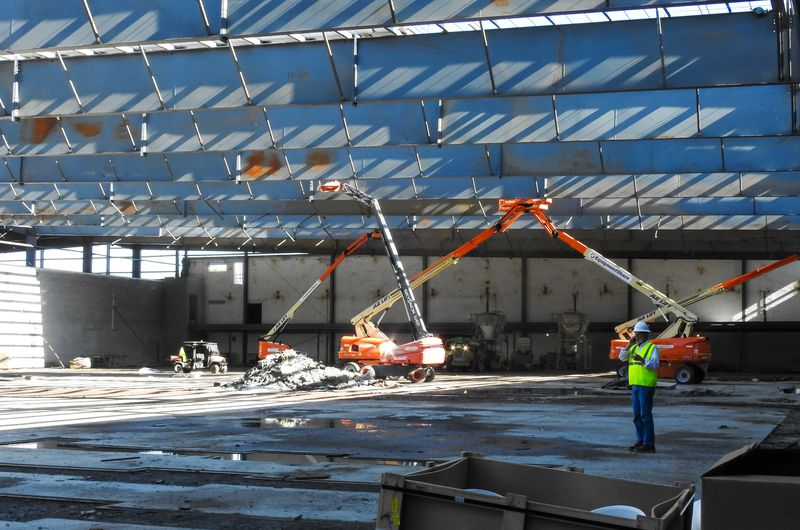 Media was invited to tour the Spooky Nook Sports Champion Mill complex under construction Friday, April 30, 2021 in Hamilton. The sports complex side and convention and hotel space combined will be over 1 million sq. feet when completed. Mill One, pictured, will feature a fitness center, climbing and adventure center, hardwood courts, sports courts, turf fields and more. Mill Two by the river is the conference center and will feature 233 hotel rooms, 16 conference rooms and 60,000 sq. feet of tenant/ lease space. NICK GRAHAM / STAFF